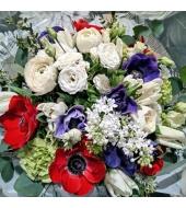 Anemoonide ja tulpidega lillekimp (talv-kevad)